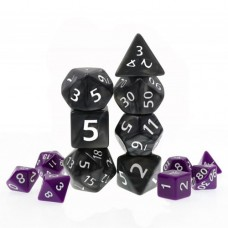 Polyhedral 7 Dice Set - Giant Pearl Black