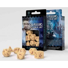 Classic RPG Beige & burgundy Dice Set - 7 Dice